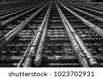 steel rebars for reinforced... | Shutterstock . vector #1023702931
