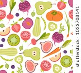 seamless patter with fruits and ... | Shutterstock .eps vector #1023703141