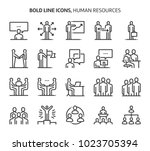 human resources  bold line... | Shutterstock .eps vector #1023705394