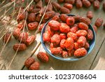jujube jujube wood table on the ... | Shutterstock . vector #1023708604