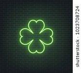 saint patrick's day. neon... | Shutterstock .eps vector #1023708724