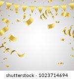 many falling luxury golden... | Shutterstock .eps vector #1023714694