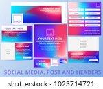 social media posts  header ...   Shutterstock .eps vector #1023714721