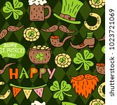st patrick's day hand drawn... | Shutterstock .eps vector #1023721069