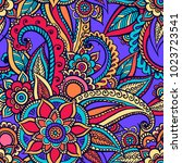 floral seamless pattern. doodle ... | Shutterstock .eps vector #1023723541