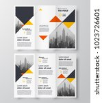 triangles theme tri fold... | Shutterstock .eps vector #1023726601