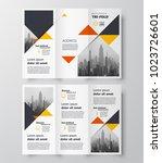 triangles theme tri fold... | Shutterstock .eps vector #1023726601