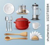 vector set of kitchenware ... | Shutterstock .eps vector #1023730084