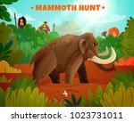 mammoth hunt colorful poster... | Shutterstock .eps vector #1023731011