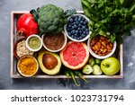 healthy food clean eating... | Shutterstock . vector #1023731794