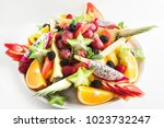 large plate with different... | Shutterstock . vector #1023732247