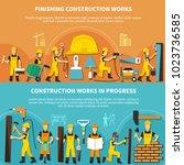 construction worker flyer set... | Shutterstock .eps vector #1023736585