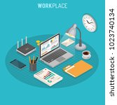 business auditing workplace... | Shutterstock .eps vector #1023740134