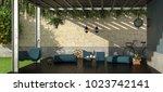 garden with iron pergola... | Shutterstock . vector #1023742141