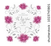 wedding card or invitation with ... | Shutterstock .eps vector #1023745801