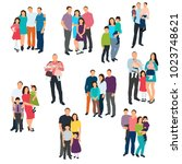 silhouette set of family on... | Shutterstock . vector #1023748621
