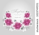 wedding card or invitation with ... | Shutterstock .eps vector #1023749551