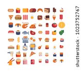 food pixel art 80s style icons... | Shutterstock .eps vector #1023752767