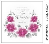 wedding card or invitation with ... | Shutterstock .eps vector #1023753634