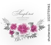 wedding card or invitation with ... | Shutterstock .eps vector #1023755461