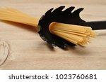 a portion of spaghetti measured ... | Shutterstock . vector #1023760681