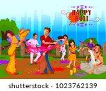 happy holi festival of colors... | Shutterstock .eps vector #1023762139