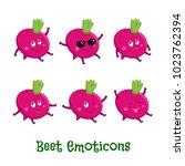 beet smiles. cute cartoon... | Shutterstock .eps vector #1023762394