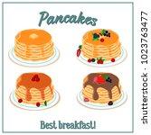 illustration of pancakes....   Shutterstock . vector #1023763477