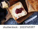 toast bread with homemade... | Shutterstock . vector #1023765397