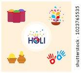 happy holi festival. holi...   Shutterstock .eps vector #1023765535