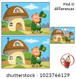 funny leprechaun goes for a... | Shutterstock .eps vector #1023766129