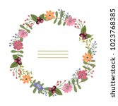 hand drawn vector wreath with... | Shutterstock .eps vector #1023768385