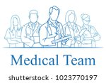 set of nurse. set of doctor... | Shutterstock .eps vector #1023770197