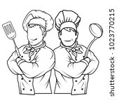 set of chef cook standing in a... | Shutterstock .eps vector #1023770215