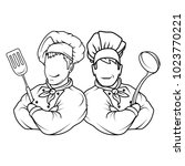 set of chef cook standing in a... | Shutterstock .eps vector #1023770221