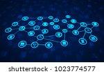 abstract network communication... | Shutterstock . vector #1023774577