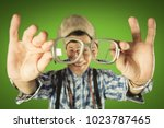 funny old guy with different... | Shutterstock . vector #1023787465
