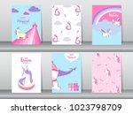 set of baby shower invitation... | Shutterstock .eps vector #1023798709