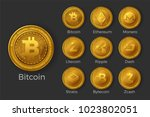 golden cryptocurrency coin... | Shutterstock .eps vector #1023802051