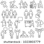 people thin line icons set ... | Shutterstock .eps vector #1023803779