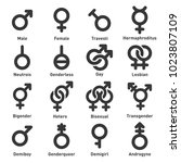 gender icons set on white... | Shutterstock .eps vector #1023807109
