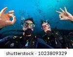 Couple Of Scuba Divers Showing...