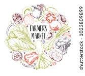 hand drawn farm vegetables....   Shutterstock . vector #1023809899