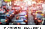 rush hour with defocused cars... | Shutterstock . vector #1023810841