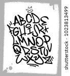 handwritten graffiti font... | Shutterstock .eps vector #1023813499