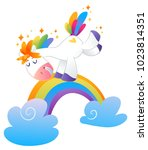 magic vector unicorn with... | Shutterstock .eps vector #1023814351