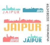 jaipur india flat icon skyline... | Shutterstock .eps vector #1023814759