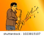 men and saxophone | Shutterstock .eps vector #1023815107