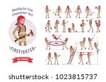 male firefighter ready to use... | Shutterstock .eps vector #1023815737