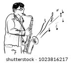 men and saxophone | Shutterstock .eps vector #1023816217
